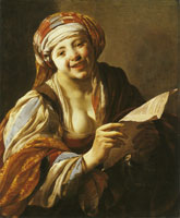 Hendrick ter Brugghen Young Woman Reading from a Sheet of Paper
