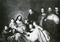 Jacob Adriaensz. Backer Family portrait with Christ blessing the children