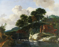 Jacob van Ruisdael Hilly Landscape with a Water Mill