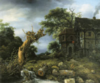 Jacob van Ruisdael Landscape with a Half-Timbered House and a Blasted Tree