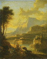 Jan Hackaert and Johannes Lingelbach Mountain landscape