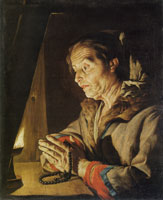 Matthias Stom Old Woman Praying