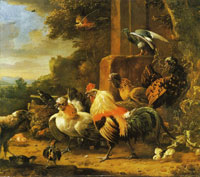 Melchior d'Hondecoeter Bird of prey in a poultry yard