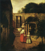 Pieter de Hooch Woman and Child in a Courtyard
