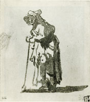 Rembrandt Beggar Woman Leaning on a Stick