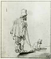 Rembrandt Blind Man Leaning on a Stick