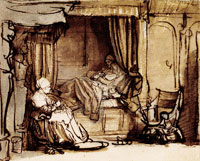 Rembrandt Interior with Saskia in bed