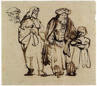 Rembrandt Old Man Guided by a Young Man and a Little Boy
