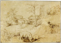 Rembrandt after Titian Landscape with a bear fighting with a goat