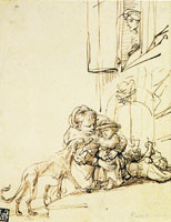 Rembrandt A Woman with a Child Frightened by a Dog