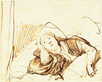 Rembrandt A Woman Lying Awake in Bed