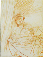 Rembrandt A Woman Sitting up in Bed with a Baby