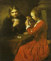 Follower of Rembrandt A Young Man and Girl Playing Cards