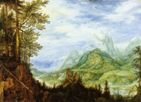 Roelandt Savery Mountain landscape with a castle