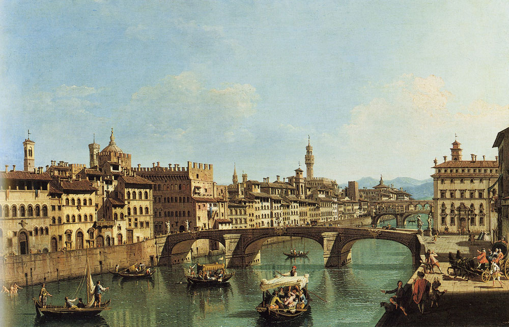 Giuseppe Zocchi - The Arno River at the Santa Trinita Bridge