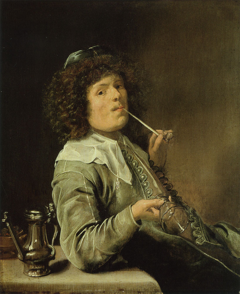 Jan Miense Molenaer - A smoking man with an empty wine glass