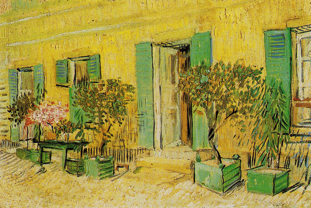 Vincent van Gogh - Exterior of a restaurant with oleanders in pots