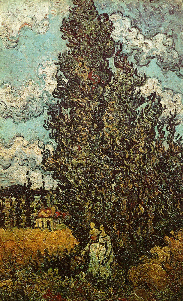 Vincent van Gogh - Two Women in Front of Cypresses