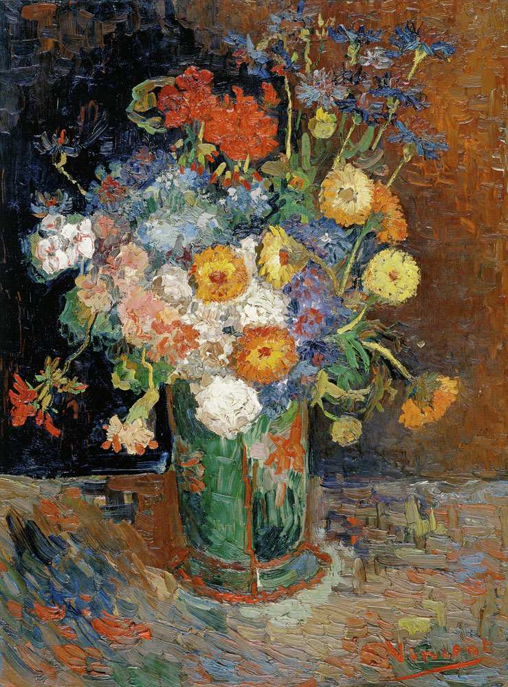 Vincent van Gogh - Bowl with Zinnias and Geraniums
