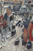 Childe Hassam Flags on Fifty-seventh Street, The winter of 1918