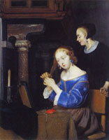 Gerard ter Borch A Lady dressing her Hair