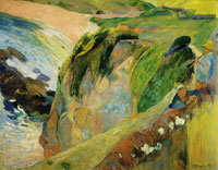 Paul Gauguin Flageolet  Player on the Cliff, Brittany