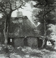 Vincent van Gogh Cottage with trees and peasant woman