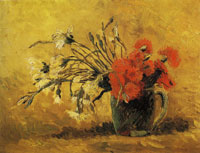 Vincent van Gogh Jug with red and white carnations