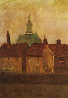 Vincent van Gogh The New Church and old houses in The Hague