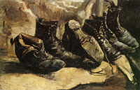Vincent van Gogh Three pairs of shoes, one shoe upside down