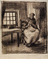 Vincent van Gogh Peasant Interior with a Woman Knitting