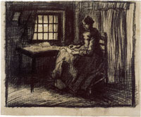 Vincent van Gogh Peasant Interior with a Woman Sewing