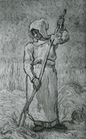 Vincent van Gogh Peasant Woman with a Rake