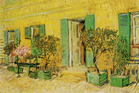Vincent van Gogh Exterior of a restaurant with oleanders in pots