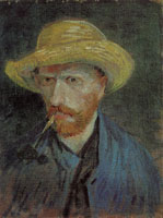 Vincent van Gogh Self-portrait with straw hat and pipe
