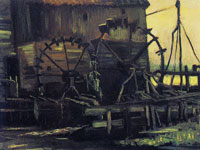 Vincent van Gogh Wheels of the water mill at Gennep