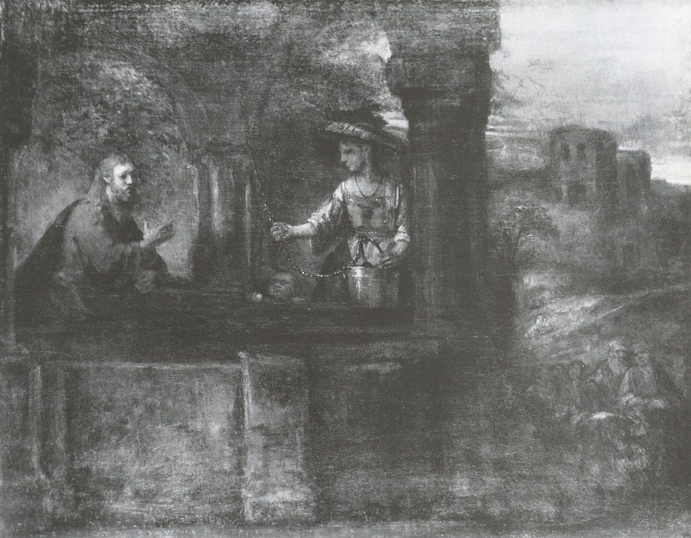 Follower of Rembrandt - Christ and the woman of Samaria