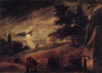 Adriaen Brouwer Dune Landscape in Moonlight