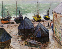 Claude Monet Boats on the Beach at Êtretat