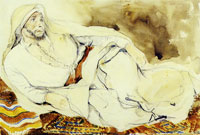 Eugène Delacroix Arab chieftain reclining on a carpet