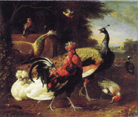 Melchior d'Hondecoeter - A Cockerel with other Birds