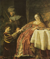 Jan Victors Haman begging Queen Esther for mercy