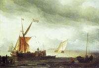 Ludolf Backhuysen - Dutch Craft lying close onshore