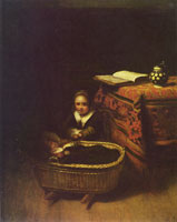 Nicolaes Maes A Little Girl rocking a Cradle