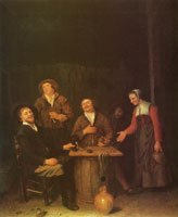 Philips Koninck Four farmers and a maid