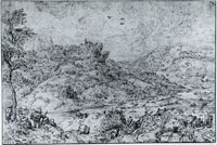 Copy after Pieter Bruegel the Elder Mountain landscape with river and travelers