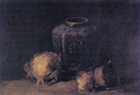 Vincent van Gogh Still life with ginger jar and onions