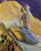 Vincent van Gogh Still life with plaster statuette, a rose, and two novels