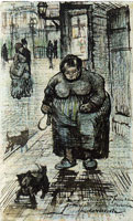 Vincent van Gogh Street with Woman Walking a Dog and with Other People