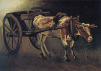 Vincent van Gogh Cart with red and white ox